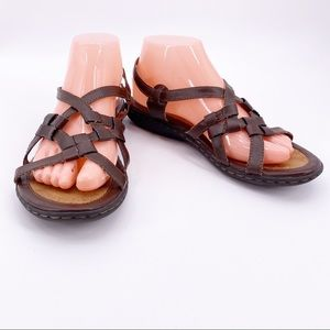 B.O.C. Brown Faux Leather Kesia Sandals Size 8